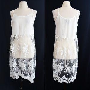 Sheer White Lace Layering Tank Dress Size Medium